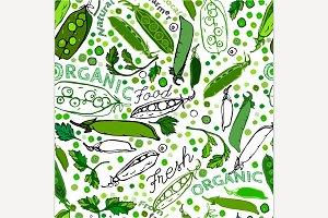 Hand Drawn Peas Seamless Pattern