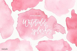 Watercolor Splashes & Textures Pink