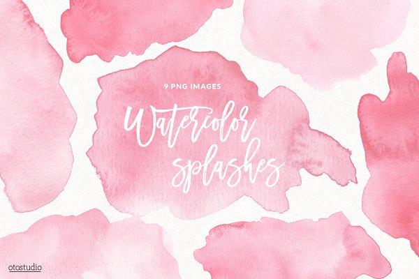 Watercolor Splashes & Textures Pink