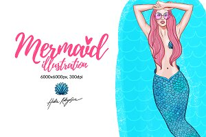 Beautiful Mermaid Illustration