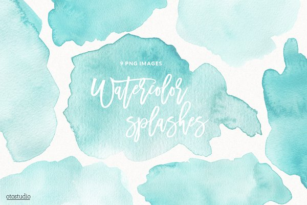 Mint Watercolor Splashes & Textures
