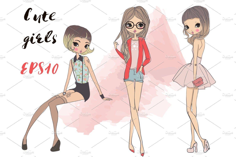 3 cartoon girls illustrations creative market