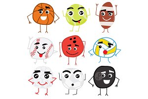Set of Cute Cartoon Balls Characters
