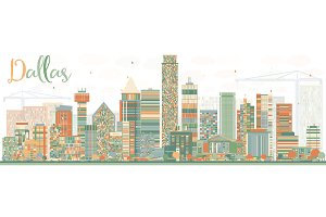 dallas skyline illustrations creative market