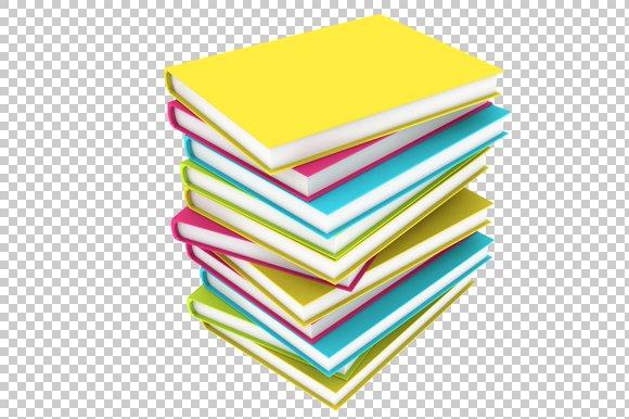 book stack 3d render png graphics creative market