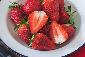 Bowl of fresh and ripe strawberries