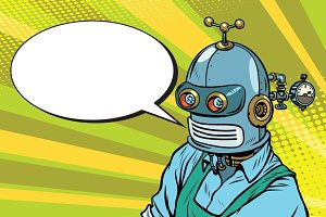 Robot Worker in apron says, the comic book bubble