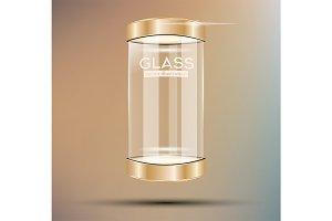 Empty Golden Glass Showcase.