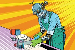Vintage worker robot washes dishes