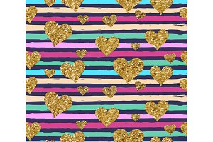 Gold glittering heart pattern