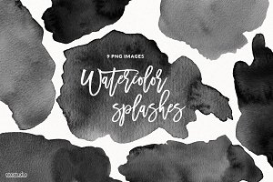 Black Watercolor Splashes & Textures