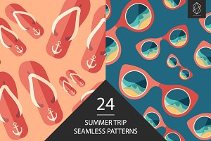 Summer trip seamless pattern set