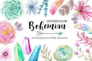 Watercolor Bohenian Nature Set