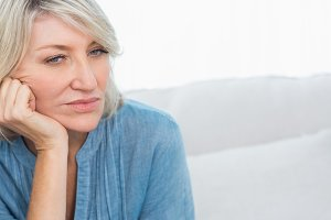 Depressed woman thinking