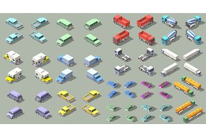 transports set isometric icon vector graphic illustration design. infographic elements