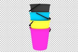 Buckets - 3D Render PNG