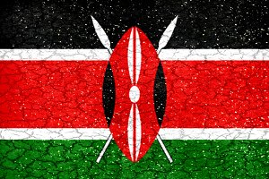 Kenya Grunge Style National Flag
