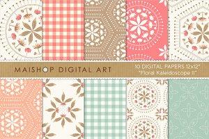 Digital Paper-Floral Kaleidoscope II