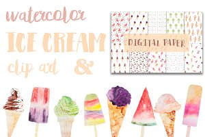 ice cream watercolor clip art