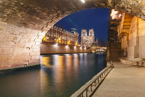 Cathedral of Notre Dame de Paris at night, France