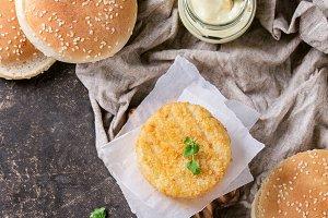 Ingredients for making vegan burger