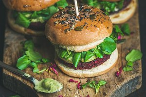 Healthy homemade vegan burger