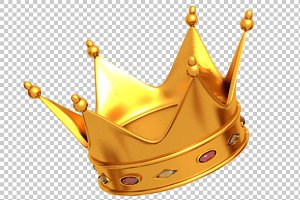 Golden Crown - 3D Render PNG