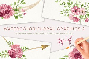 Pink Floral Watercolor graphics