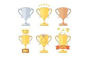 Award Cup Set. Vector