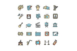 Fine Art Icons Set.