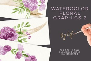 Watercolor Purple Wreaths Clipart