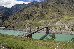 Old abandoned bridge on Katun river