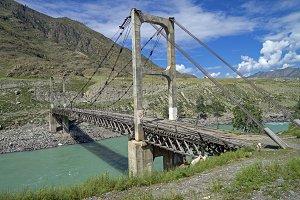 Old suspension bridge on Katun river