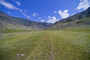 Trail from the car in a meadow.