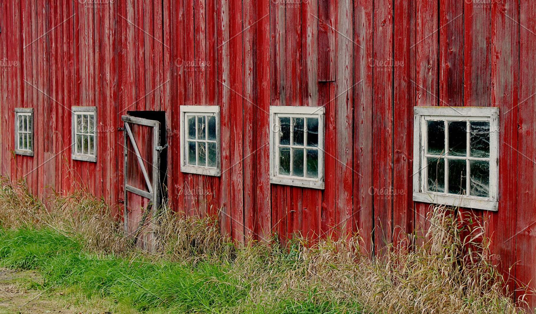 Old Red Barn Door And Windows Architecture Photos Creative Market