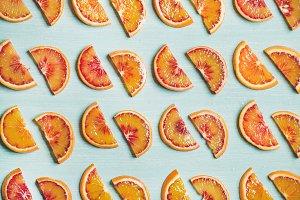 Fresh juicy blood orange slices