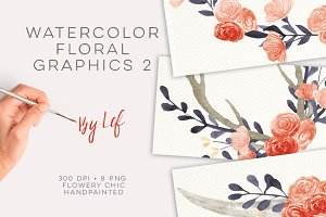 Watercolor Flower wreaths graphics