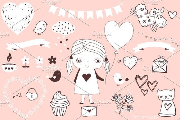 Cute Love Clipart Set