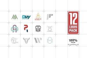 12 Logos Pack Vector