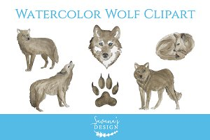 Watercolor Wolf Clipart