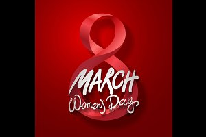 8 March women day, vector. red