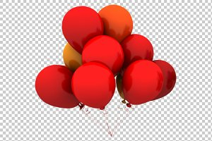 Red Balloons - 3D Render PNG