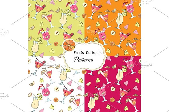 Set Seamless Patterns With Fruits And Cocktails