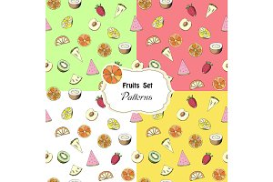 Set seamless patterns with fruits