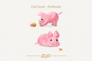 ♥ vector little pigs & snails