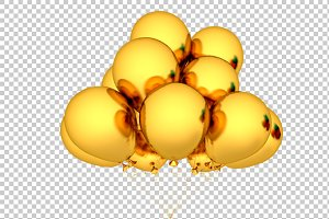Gold Balloon - 3D Render PNG
