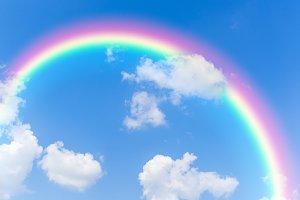 Cloud and sky with rainbow