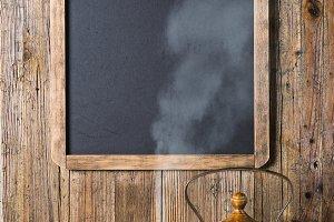 Teapot and menu chalkboard.