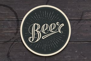 Coaster with hand drawn lettering Beer
