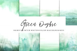 Green ombre watercolor